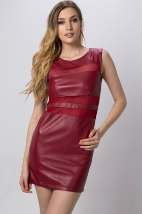 Mesh Stripe Faux Leather Dress