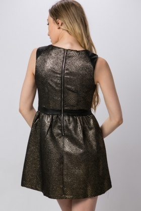 Faux Leather Waist Metallic Dress
