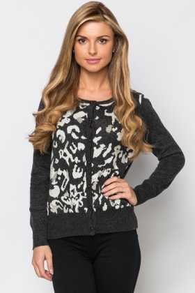 Metallic Animal Print Cardigan