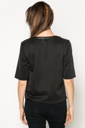 Metallic Knit Panel Top