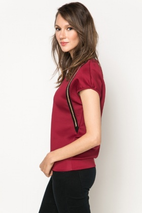 Quilted Panel & Embroidered Trim Top