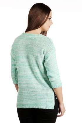 Speckled Knit Split Hem Sweater
