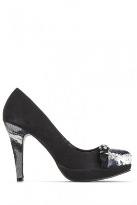 Mock Croc Buckle Trim Court Shoes