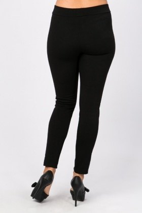 Faux Leather Side Leggings