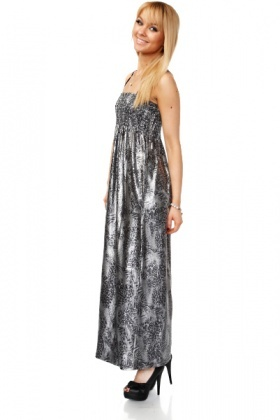 Metal Foil Lace Print Maxi Dress