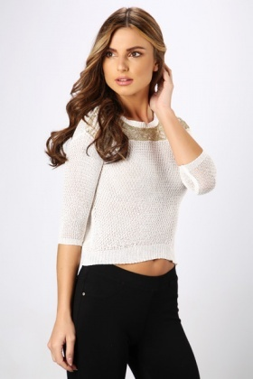 Metallic Trim Knit Pullover