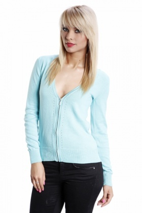 Zipped Front Perforated V-Neck Cardigan