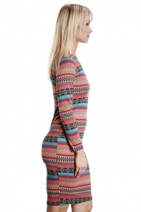 Ethnic Print Midi Fleece Dress
