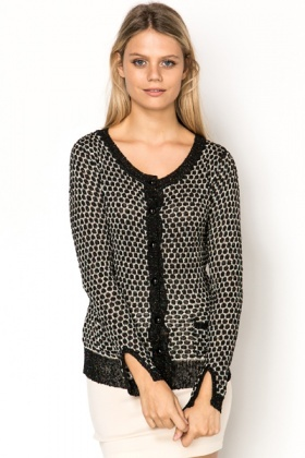 Metallic Button Front Cardigan