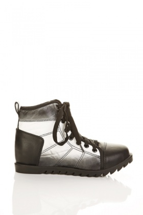 Quilted Lace-Up Sneaker Boots