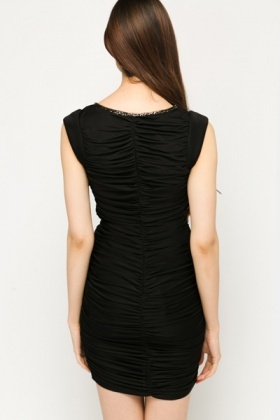 Chain Embellished Ruched Dress