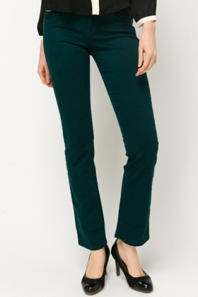 Double Button Cotton Blend Trousers