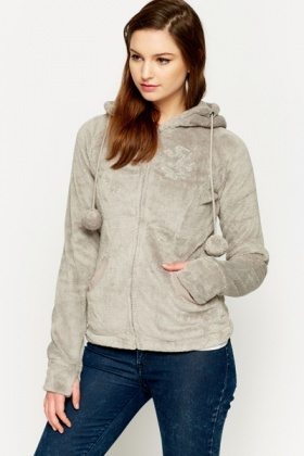 Pom Pom Hood Fleece Jacket