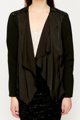 PU Shoulder Waterfall Cardigan