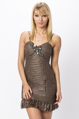 Large Sequin & Jewel Encrusted Frilled Hem Dress