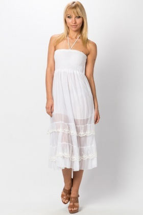 Embroidered Mesh Frill Dress