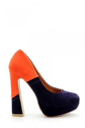 Two Tone Block Heel Shoes
