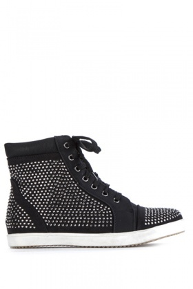 Encrusted Toe Cap Lace Up Trainers