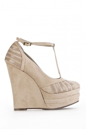 T-Bar Wedge Sandal Heels