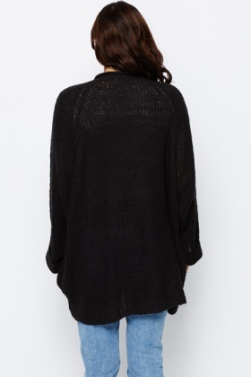 Ribbed Longline Open Front Cardigan