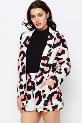Coloured Animal Print Longline Blazer Jacket