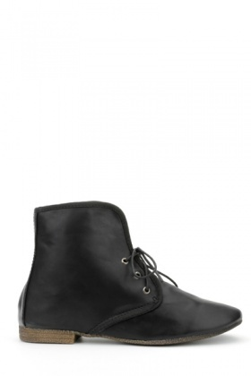 Faux Leather Trim Ankle Boots