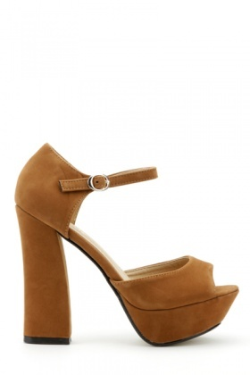 Velour Ankle Strap & Peep Toe Shoes