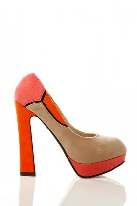Block Colour Patch Suedette Shoes