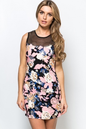 Mesh Neckline Floral Dress