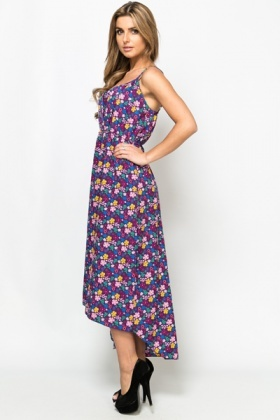 Cut-Out Front Flower Maxi Dress