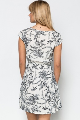 Bird Ornate Print Tea Dress
