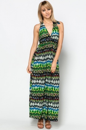 Colourful Printed Maxi Dress