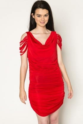 Shirred Effect Ruched Dress