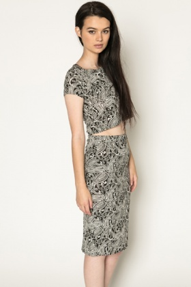 Paisley Print Crop Top & Skirt Set