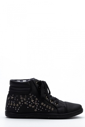 Star Studded Black Trainers