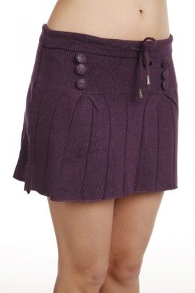 Knitted Button Detail Mini Skirt