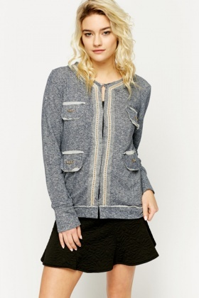 Chain Trim Jersey Jacket