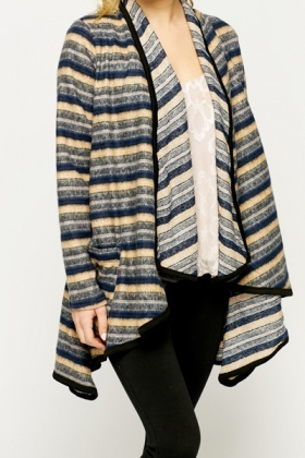 Striped Fleece Waterfall Cardigan - Just £5