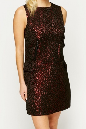 Jacquared Animal Print Shift Dress