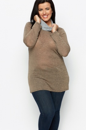Speckled Cowl Neck Top