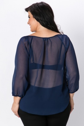 Blue Sheer Blouse