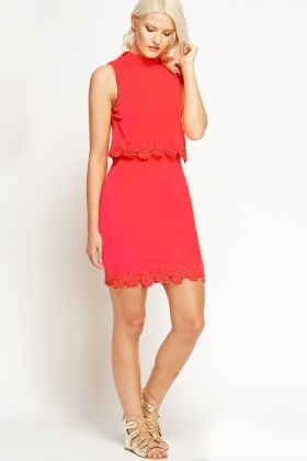 High Neck Neon Coral Mesh Trim Overlay Dress