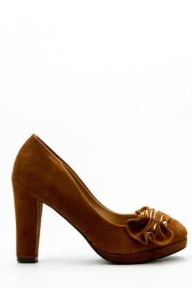 Pleated Metal Insert Velour Heels
