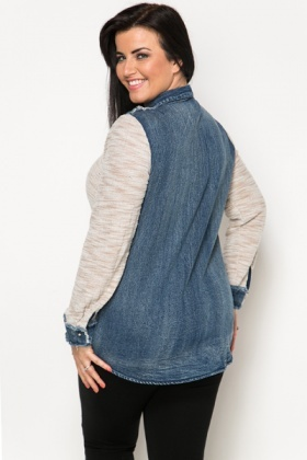 Denim Contrast Knit Shirt