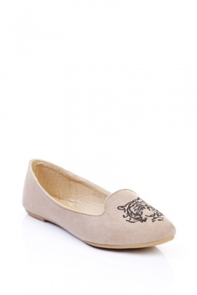 Embroidered Tiger Toe Slipper Flats