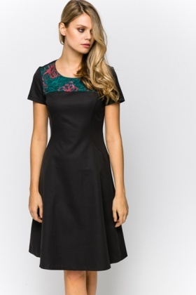 Woven Embroidered Trim A-Line Dress