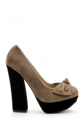 Drape Bow Colour Block Heels