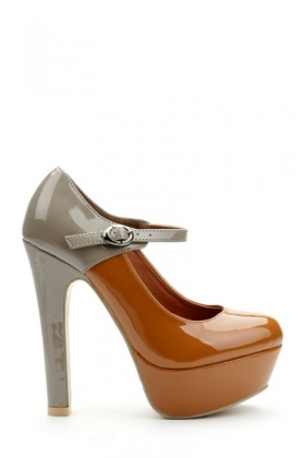 Two Tone Ankle Strap Court Shoes
