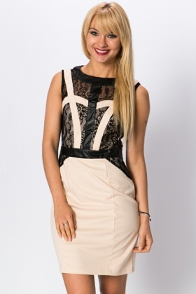 PU Trim & Lace Cut-Out Dress
