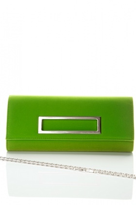 Metal Cut Out Flap Suede Clutch